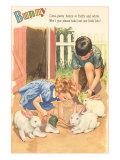 Bunny, Children Feeding Rabbits Art