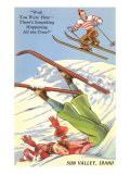 Sun Valley, Idaho, Cartoon Skiers Prints