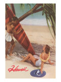 Hawaii, Tourists with Surfboard Plakater