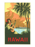Hawaii, Volcano, Cruise Ship, Woman with Guitar Prints