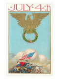 4th of July, Eagle Holding Wreath, Battle Prints