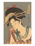 Japanese Woodblock, Woman with Scarf in Mouth Prints