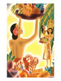 Hawaiian Women with Fruit, Graphics Poster