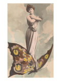 Victorian Lady Standing on Butterfly Prints