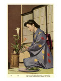 Geisha Doing Ikebana, Japan Prints