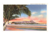Sunset on Diamond Head, Honolulu, Hawaii Prints