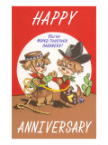 Happy Anniversary, Cartoon Cowboys Print