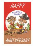 Happy Anniversary, Cartoon Cowboys Print
