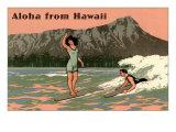 Aloha from Hawaii, Old Fashioned Surfers Giclée-Premiumdruck
