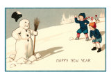 Happy New Year, Children with Snowman Prints