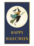 Happy Halloween, Witch on Broom Posters