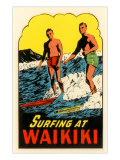 Surfing at Waikiki, Hawaii Prints