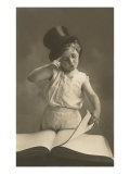 Little Boy in Top Hat Reading Book Posters