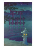Japanese Illustration, Night, Lantern by Lake Poster
