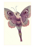 Lady as Purple Butterfly Prints