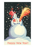Happy Snowman with Broom Print