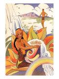 Scène hawaïenne, illustration Art