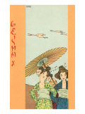 Geishas with Parasol and Geese Prints