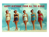 Happy Birthday from all the Girls, Bathing Beauties Print
