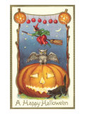 Witch, Owl Perched on Jack O'Lantern Prints