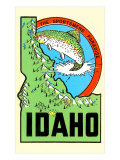 Idaho Map with Trout Art