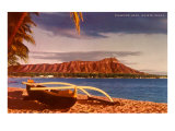 Outrigger on Beach by Diamond Head, Hawaii Prints