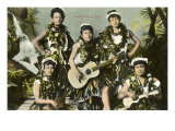 Hawaiian Music Girls Art