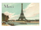 Merci, Eiffel Tower and Seine Posters