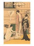 Japanese Woodblock, Public Baths Prints