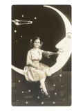 Girl Sitting on Crescent Moon Photo