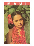 Maui, Hawaiian Girl in Taro Leaves with Lei Posters