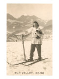 Sun Valley, Idaho, Girl Skiing with Cat Poster