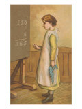 Victorian Girl Adding at Chalkboard Prints