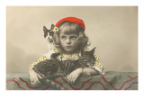 Girl with Red Tam and Two Cats Print