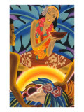 Hawaiian Woman at Luau, Graphics Prints
