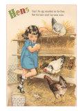 Hens, Little Girl Gathering Eggs in Hen House Prints