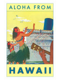Aloha from Hawaii, Hawaiian Girls Greeting Cruise Ship Prints