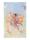 Fairies Floating with Chinese Lanterns Print