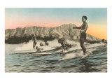 Surfeurs, Waikiki, Hawaï Poster
