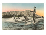 Surfing in Hawaii by Diamond Head Print