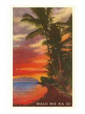 Maui No Ka Oi, Sunset on Lagoon Prints