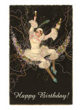 Happy Birthday, Lady Harlequin with Champagne Prints