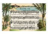 Aloha Oe Music, Lyrics Prints