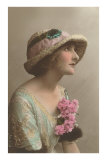 French Fashion, Mooney Woman in Hat Print