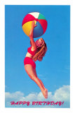 Happy Birthday, Girl Leaping with Beach Ball Posters