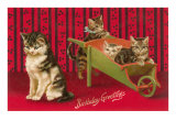 Birthday Greetings, Cats with Wheelbarrow Prints