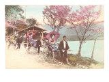 Rickshaws by Lake, Japan Prints
