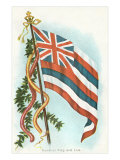 Hawaiian Flag and Leis Poster