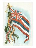 Hawaiian Flag and Leis Poster