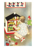 Girl Playing with Doll House Prints